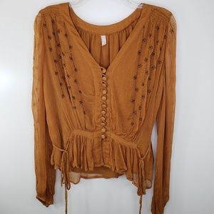 Free People Gold Boho Embroidered Blouse SP